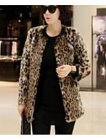 Недорогие -Жен. На выход На каждый день Зима Осень Пальто с мехом V-образный вырез,Уличный стиль Леопард Обычная Длинные рукава,Искусственный мех,