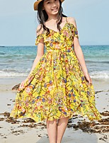 cheap -Girl's Going out Floral Dress,Polyester Summer Sleeveless Boho Yellow