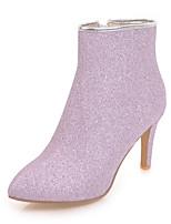 Недорогие -Для женщин Обувь Блестки Дерматин Зима Осень Модная обувь Ботильоны Ботинки Высокий каблук Заостренный носок Ботинки Сапоги до середины