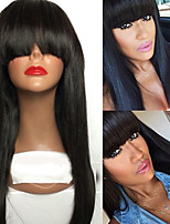 9A Grade Straight Lace Front Human Hair Wig With Big Bangs 130% Density Brazilian Virgin Hair Glueless Lace Wigs for Black Woman