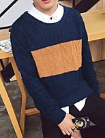 preiswerte -Herren Kurz Pullover-Lässig/Alltäglich Solide Rundhalsausschnitt Langarm Acryl Winter Herbst Dick strenchy
