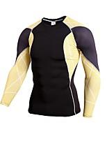 economico -Per uomo T-shirt da corsa Manica lunga Fitness Football americano Top per Corsa Calcio Rayon Aderente Arancione Giallo Rosso Verde Blu L