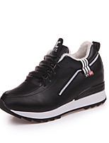 cheap -Women's Shoes PU Winter Fall Comfort Sneakers Walking Shoes Flat for Casual Black White