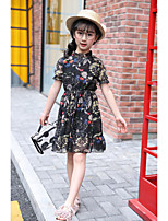 cheap -Girl's Holiday Going out Floral Patterned Dress,Polyester Summer Short Sleeves Vintage Boho Black