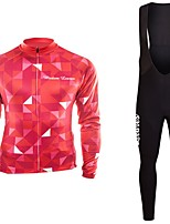cheap -Cycling Jersey with Bib Tights Unisex Long Sleeves Bike Jersey Clothing Suits Bike Wear Fast Dry Geometric Cycling / Bike Blue Green Red