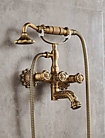 cheap -Antique Centerset Widespread with  Ceramic Valve Two Handles Two Holes for  Antique Copper , Shower Faucet