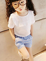 Girls' Solid Striped Clothing Set,Cotton Summer Short Sleeve Simple White