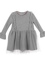 cheap -Girl's Casual/Daily Solid Dress,Polyester Winter Fall Long Sleeves Simple Gray