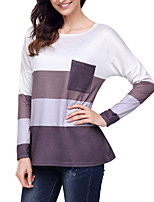 cheap -Women's Daily Casual Fall T-shirt,Color Block Round Neck Long Sleeve Cotton Opaque