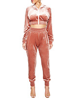 cheap -Women's Sports Holiday Simple Street chic Spring Fall Hoodie Pant SuitsSolid Hooded Long Sleeve Slim Velvet Micro-elastic