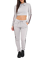 cheap -Women's Sports Holiday Simple Street chic Spring Fall T-Shirt Pant SuitsStriped Color Block Hooded Long Sleeve Slim Polyester