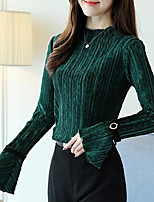 cheap -Women's Going out Vintage Blouse,Solid Round Neck Long Sleeve Cotton