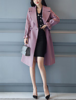 cheap -Women's Going out Work Street chic Winter Fall Trench Coat,Solid Notch Lapel Long Sleeve Long Polyester Ruffle