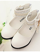 cheap -Girls' Shoes PU Spring Fall Comfort Flats Walking Shoes Bowknot Buckle for Casual White Black Pink