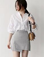 preiswerte -Damen Solide Retro Alltag Hemd,V-Ausschnitt Langärmelige Baumwolle