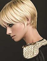 Недорогие -жен. Человеческие волосы без парики Черный Medium Auburn Бежевый Blonde // Bleach Blonde Короткий Прямой силуэт Стрижка каскад Боковая