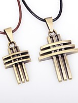 Couple's Pendant Necklaces Leather Alloy Pendant Necklaces , Vintage Cool Bar Going out