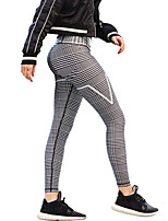 cheap -Women's Vintage Style Stripe Spandex Medium Stitching Print Legging,Striped Solid Gray