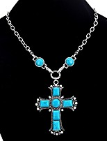 cheap -Women's Cross Vintage Bohemian Pendant Necklace Turquoise Turquoise Alloy Pendant Necklace , Gift Evening Party