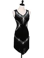 cheap -Latin Dance Dresses Women's Performance Velvet Crystals/Rhinestones Sleeveless High Crystal