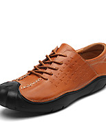 Недорогие -Для мужчин обувь Кожа Весна Осень Удобная обувь Туфли на шнуровке для Повседневные Черный Коричневый