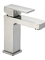 cheap -Contemporary Centerset Widespread Ceramic Valve Single Handle One Hole Nickel Brushed , Bathroom Sink Faucet