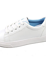 cheap -Women's Shoes PU Spring Fall Comfort Sneakers Flat Round Toe for Casual Pink Blue White