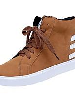 abordables -Mujer Zapatos PU Invierno Confort Botas de Combate Botas Tacón Plano Dedo redondo Mitad de Gemelo para Casual Negro Marrón