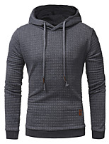 cheap -Men's Plus Size Sports Casual/Daily Simple Hoodie Solid Hoodie Micro-elastic Cotton Polyester Long Sleeve Spring/Fall