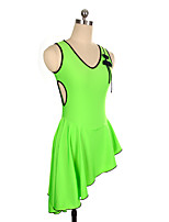 cheap -Figure Skating Dress Women's Girls' Ice Skating Dress Green Spandex Inelastic Performance Practise Skating Wear Solid Sleeveless Ice