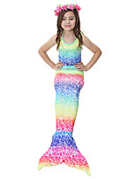 cheap -The Little Mermaid Skirt Swimwear Bikini Kid Christmas Masquerade Festival / Holiday Halloween Costumes Yellow Red Blue Pink Color Block