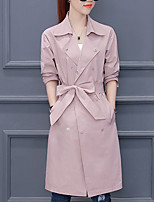 cheap -Women's Casual/Daily Simple Winter Fall Trench Coat,Solid Shirt Collar Long Sleeve Long Cotton