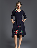 cheap -SHE IN SUN Women's Going out Work Vintage Casual A Line Dress,Floral V Neck Midi 3/4 Sleeve Polyester Fall Mid Rise Inelastic Opaque