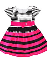 cheap -Girl's Daily Going out Striped Dress,Cotton Summer Short Sleeves Cute Active Fuchsia Red