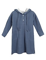 Girl's Casual/Daily Solid Dress,Polyester Winter Fall Long Sleeves Simple Blue