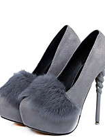 cheap -Women's Shoes Feather/ Fur Leatherette Spring Fall Basic Pump Heels Stiletto Heel Pointed Toe for Wedding Party & Evening Gray Black