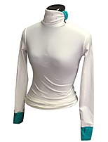 cheap -Figure Skating Top Women's Girls' Ice Skating Top White Spandex Stretchy Performance Practise Skating Wear Solid Long Sleeves Ice Skating