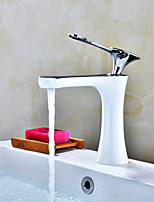 Art Deco / Retro Centerset Widespread Ceramic Valve Single Handle One Hole Painting , Bathroom Sink Faucet