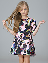 cheap -Girl's Party Going out Floral Dress, Cotton Polyester Spring Fall Half Sleeves Cute Active Blushing Pink