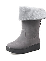cheap -Women's Shoes Fleece Winter Fall Snow Boots Fashion Boots Boots Flat Round Toe Booties/Ankle Boots Mid-Calf Boots for Casual Dress Red