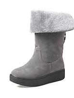 Недорогие -Для женщин Обувь Флис Зима Осень Зимние сапоги Модная обувь Ботинки Плоские Круглый носок Ботинки Сапоги до середины икры для