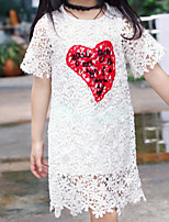 Girl's Holiday Solid Dress,Polyester Summer Short Sleeves Simple White
