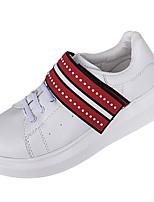 preiswerte -Damen Schuhe Künstliche Mikrofaser Polyurethan Kunstleder PU Frühling Herbst Komfort Sneakers Flacher Absatz Runde Zehe für Normal Rot
