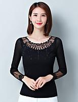 preiswerte -Damen Solide Freizeit Alltag T-shirt,V-Ausschnitt Langärmelige Baumwolle Polyester