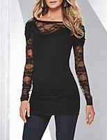 abordables -Tee-shirt Femme,Couleur Pleine Sortie Soirée Rétro Sexy Printemps Automne Manches longues Col Arrondi Polyester Moyen