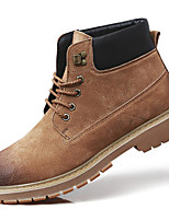 Men's Shoes Real Leather Pigskin Spring Fall Comfort Combat Boots Boots Booties/Ankle Boots for Casual Brown Gray Black