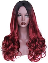 Women Synthetic Wig Long Natural Wave Black/Red Dark Roots Layered Haircut Natural Wigs Costume Wig