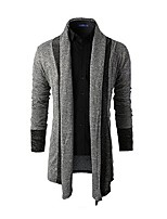 cheap -Men's Daily Sports Regular Cardigan,Color Block Shirt Collar Long Sleeves Japanese Cotton Winter Fall Thin Micro-elastic