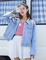 cheap -Women's Daily Vintage Fall Denim Jacket,Solid Shirt Collar Long Sleeve Regular Cotton