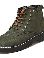 cheap -Women's Shoes PU Spring Fall Comfort Boots Flat for Outdoor Green Black